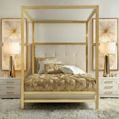 Stylish Home Decor & Chic Furniture At Affordable Prices Canopy Bedroom, Gold Bedroom, Master Bedroom, Master Master, Canopy Beds, Estilo Kitsch, Bedroom Furniture, Bedroom Decor, Furniture Layout