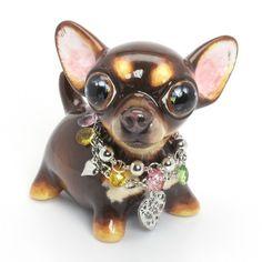 Choc & Tan Chihuahua Piggy Bank Mini 00016 Colorful Bead Collar Dog Lover Gifts