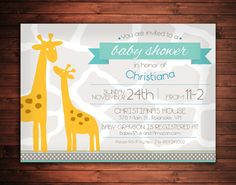 Printable Safari Baby Shower Invitation by EAlexDesigns on Etsy