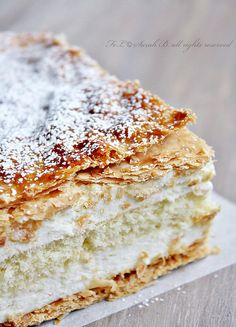 Diplomatico - puff pastry layers filled with creme diplomat (1 part whipped cream, 2 parts pastry cream). #food #pastry #desserts