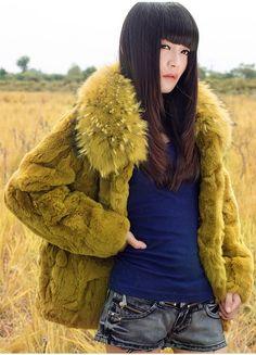 New Real 100% Rabbit Fur Raccoon Collar Women Coat Jacket Overcoat Garment