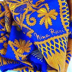Vintage Silk Scarf NINA RICCI Luxury Silk Scarf Chic French