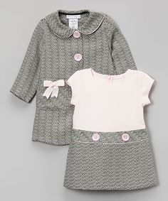 Gerson & Gerson Pink & Gray Bow Peacoat & Dress - Infant, Toddler & Girls