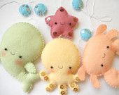PDF pattern - Four cute sea creatures - octopus, whale, starfish and crab - DIY felt ornaments, baby crib mobile