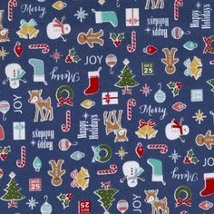 Riley Blake Cozy Christmas Flannel Main Navy from @fabricdotcom  Designed for Riley Blake Designs, this single napped (brushed on face side only) flannel is perfect for quilting and craft projects as well as apparel and home décor accents. Colors include teal, red, brown, green and gold.