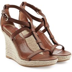 Burberry Shoes & Accessories Wedland Leather and Raffia Wedges ($310) ❤ liked on Polyvore featuring shoes, sandals, wedges, heels, zapatos, brown, leather t strap sandals, brown sandals, brown wedge sandals and ankle strap sandals