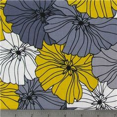 This retro-inspired floral fabric is a lovely way to add a touch of spring to home decor. Art Craft Store, Craft Stores, Floral Fabric, Fabric Flowers, Home Crafts, Arts And Crafts, Quilt Material, Grey Flowers, Fabric Shop