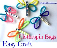 Looking for an easy kids craft for spring? Make a butterfly and dragonfly clothespin crafts. Use supplies you already have...clothespin, pipe cleaners, googly eyes and glue. Plus! Everyone loves a bug craft!