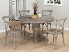 With a distressed, burnt grey finish and blend of traditional and contemporary styles, the Jofran Booth Bay Round Pedestal Dining Table makes. Grey Round Dining Table, Oak Table, Extendable Dining Table, Dining Table In Kitchen, Dining Chairs, Side Chairs, Round Kitchen, Table Bases, Rattan Chairs
