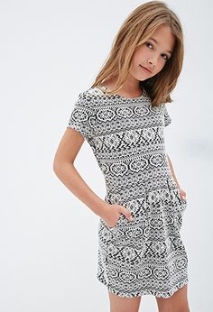 Pleated Southwestern-Patterned Dress (Kids) | FOREVER21 girls - 2000081673 Size 11-12 if worn alone, 9-10 if worn with leggings