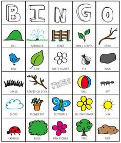 Outside Bingo Printable from Kids Activities Blog.  This could be used for working on vocabulary skills.