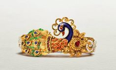 Peacock Design Gold Kada Bangle