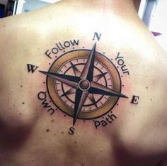 Large Compass Tattoo on Back