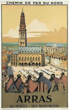 ALO (Charles-Jean Hallo 1884-1969) - Arras, ses places, ses monuments. Chemin de Fer du Nord, vers 1933. Affiche lithographique. Lucien Serre & Cie Paris.