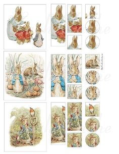 Free  Collage Sheets for Pendants | Beatrix Potter Characters Digital Collage Sheet 2 - kootation.com
