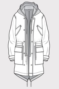 Coat sketch |♦F&I♦ Dress Design Sketches, Fashion Design Drawings, Fashion Sketches, Flat Drawings, Flat Sketches, Technical Drawings, Kleidung Design, Fashion Pattern, Clothing Sketches