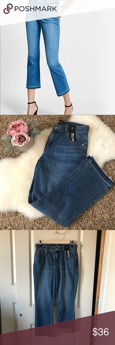 """NWT 💎 Express bell crop jeans high waisted flare Brand new with tags! Released hem. High rise. One button closure. Five pocket styling. Bell crop leg. 98% cotton 2% elastane   Inseam - 26"""" Express Jeans Ankle & Cropped"""