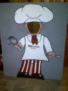 """put your face here for picture"" cardboard chef"