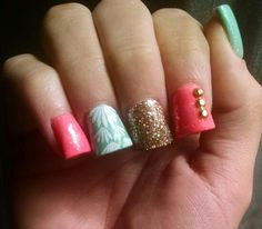 Bright acrylic nails #mint #corral #gold #acrylic #nails #cute #gel #topcoat #fun #summer #nailart #annielerwill #nailsbyrach
