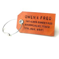 re:pin BKLYN contessa :: Custom Leather Luggage Tag from Owen & Fred, $45, Hand Stamped in Boston, Brooklyn or Portland.