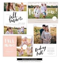 Download and use instantly! Details 4 Marketing Boards perfect to use as flyers, postcards, mini session announcements, promos & more. 5x7 @ 300 dpi layout.