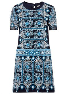 Navy embroidered cotton dress - New In
