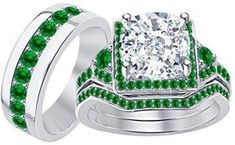 Men & Women's Cushion Cut CZ Diamond & Green Emerald White Gold Plated 925 Sterling Silver Engagement Wedding Ring Set Mens Emerald Rings, Emerald Stone, Engagement Wedding Ring Sets, Wedding Rings, May Birthstone Rings, Rose Gold Diamond Ring, Tungsten Wedding Bands, Morganite Ring, Topaz Ring