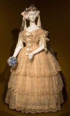 ~1855, Great Britain - Wedding ensemble~      Silk taffeta, netting, ribbon & lace   HELENE