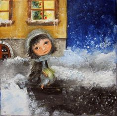 The Little Match Girl - oil painting by Monica Blatton