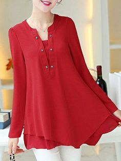 Ladylike Round Collar Long Sleeve Red Blouse For Women Ladylike . Read more The post Ladylike Round Collar Long Sleeve Red Blouse For Women appeared first on How To Be Trendy. Pretty Outfits, Beautiful Outfits, Cool Outfits, Red Blouses, Blouses For Women, Cheap Blouses, Summer Blouses, Stil Inspiration, Mode Top