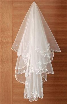 Rhinestones White Netting Cathedral Wedding Veil  Style Code: 10571  US$12.99
