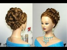 ▶ Wedding prom hairstyle for long hair. Updo hairstyles. - YouTube