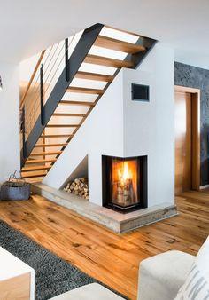 Escalier industriel LOFT intégré dans une cheminée