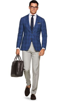 Suitsupply Jackets: We couldn't be more proud of our tailored jackets. The soft shoulders, Italian fabrics, impeccable slim fit—just a few reasons you should check out our latest arrivals! Mens Office Fashion, Old Man Fashion, Mens Fashion Suits, Blue Check Suit, Suit Supply, Blazer Outfits Men, Smart Casual Menswear, Blue Suit Jacket, Mens Attire