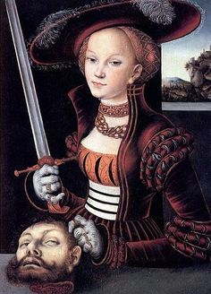 Judith with the Head of Holofernes by Lucas Cranach the Elder, 1530. Very interesting piece, you normally don't see Judith posing with the head. This would have been considered a very brazen, rude image. Completely different from what Italy was doing at the time.