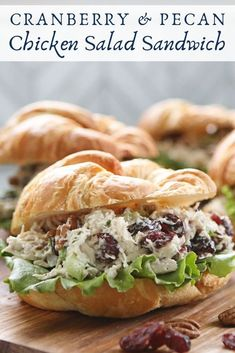 Cranberry & Pecan Chicken Salad Sandwich This easy chicken salad sandwich had a fall make over and is filled with delicious, sweet cranberries and crunchy pecans for an easy meal. Pecan Chicken Salads, Chicken Salad Recipes, Healthy Salad Recipes, Salad Chicken, Cranberry Chicken Salad Sandwich Recipe, Keto Chicken, Chicken Salad Croissant, Chicken Broccoli, Sandwich Recipes