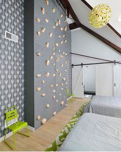 gray and white contemporary bedroom with climbing wall childrens playrooms pinterest hgtv playrooms and contemporary