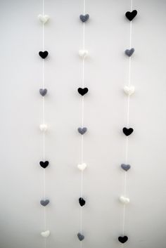 Crochet Amigurumi Hearts Vertical Garland - Black,Grey,White; Nursery Decor, Plush Crochet Hearts, Kids Children's Garland, Decorative wall by LeensLittleThings on Etsy