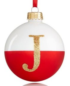 Holiday Lane Glass Initial Ball Christmas Ornament - Tan/Beige