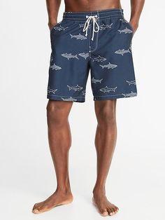 71624b35ec Old Navy Men's Printed Swim Trunks - 8-Inch Inseam Navy Blue Shark Print  Size