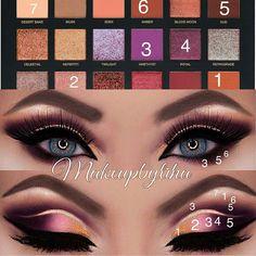 Want to know more about makeup tutorial Huda Beauty Eyeshadow, Huda Beauty Makeup, Makeup Blog, Makeup Geek, Makeup Addict, Makeup Ideas, Huda Beauty Desert Dusk, Eye Makeup Steps, Photo Makeup