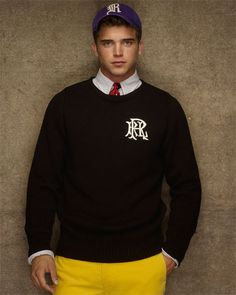 Rugby Ralph Lauren Black Boatneck Varsity Sweater.. this is the logo!