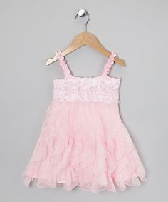 Take a look at this Pink Rosette Ruffle Dress - Toddler & Girls by One Posh Kid on #zulily today!
