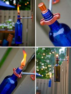 Tiki torch from old wine bottles!!!