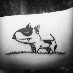 Bull terrier tattoo . Follow me on instagram , to see more tattoos.  KAVRY