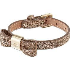 MULBERRY leather bow bracelet (Metallic mushroom)..