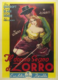 """Title: Il Doppio Segno di Zorro / Origin: Italy - 1949 /  40 x 55 in (100 x 140 cm) / """"The Ghost of Zorro"""" #Zorro #Zorroposter"""