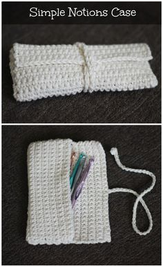 This simple crocheted case is the perfect size for a few crochet hooks. Or, in my case, pencils, pens and an eraser for making notes on...