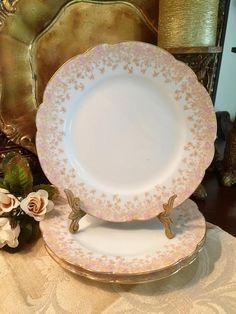 3 Scalloped French Porcelain Dessert Plates Antique D & Co.