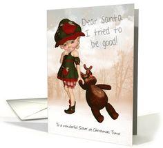 Sister, Dear Santa Retro Cute Christmas card (986843)